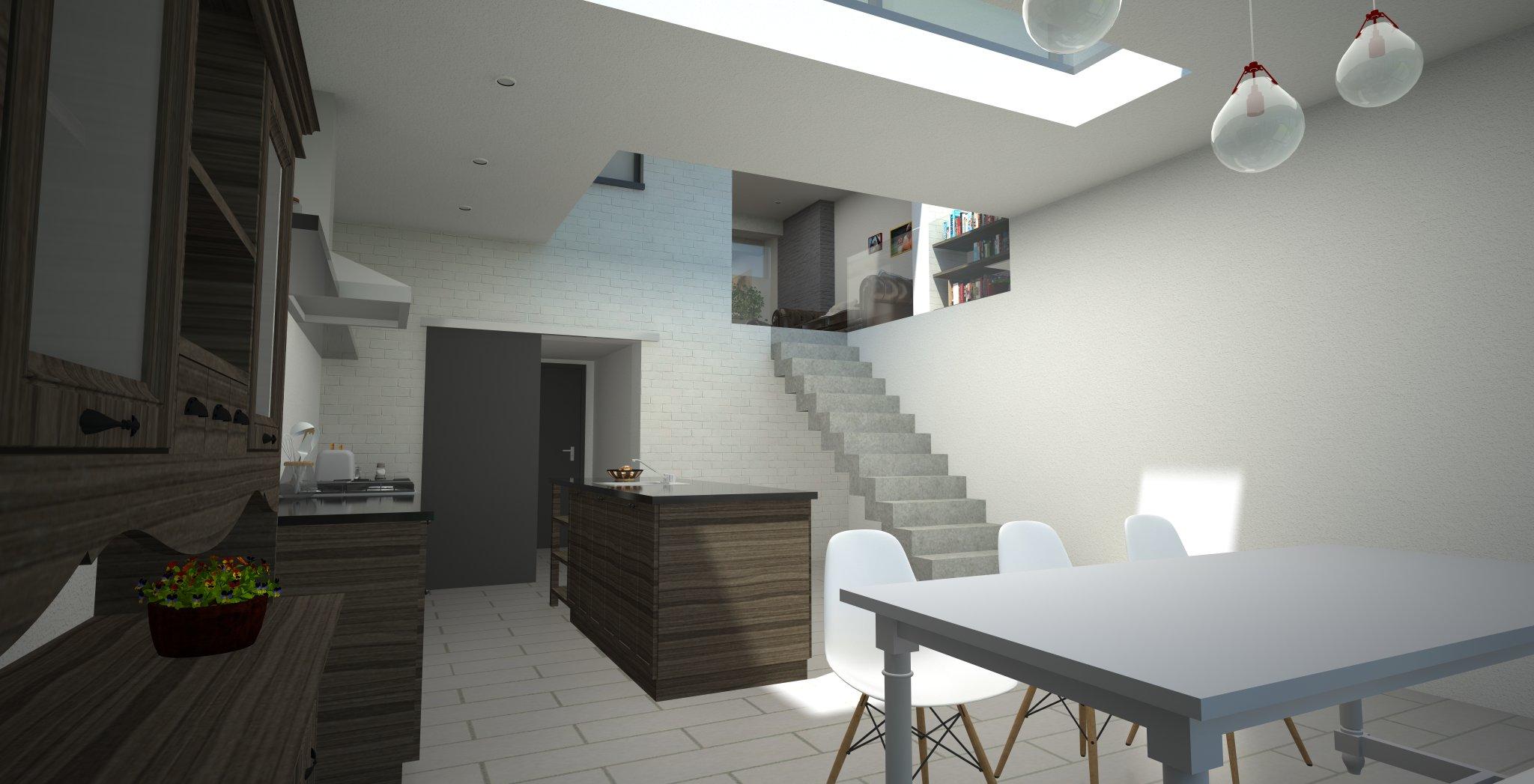 erbouwing bell etage zicht keuken en eetkamer met vide