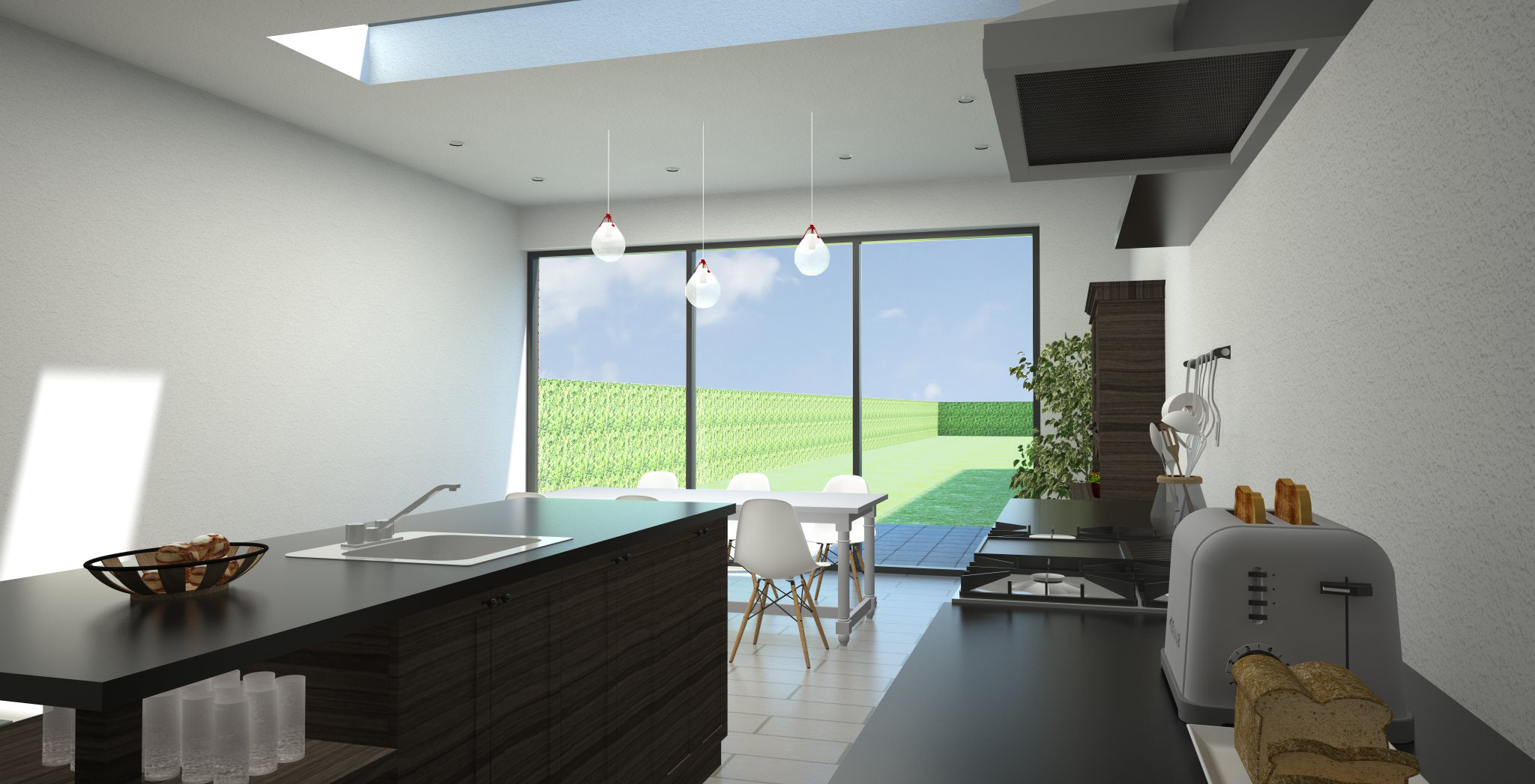 Woonkamer Met Vide : erbouwing bell etage zicht keuken en eetkamer met ...